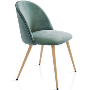 Luxe Angel Curve Velvet Smooth Back Chair - Light Wood Effect Metal Leg