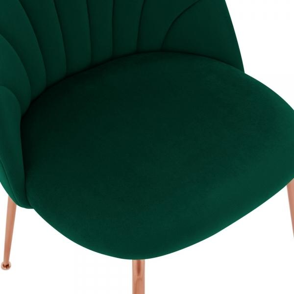 Forest Green Memphis Belle Luxury Velvet Dining Desk Chair Copper Leg