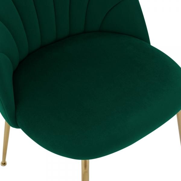 Forest Green Memphis Belle Luxury Velvet Dining Desk Chair Gold Brass Metal Leg