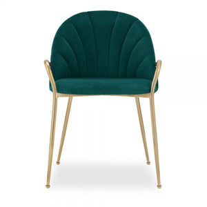 Teal Memphis Belle Luxury Velvet Dining Desk Chair Gold Brass Metal Leg with Armrest