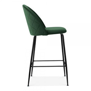 Emerald Green / Black / 65 cm Emerald Green Luxe Diamond Velvet Bar Stool 65cm - 75cm Gold Brass - Copper - Black Leg - Pebble & Leaf LtdFurniture