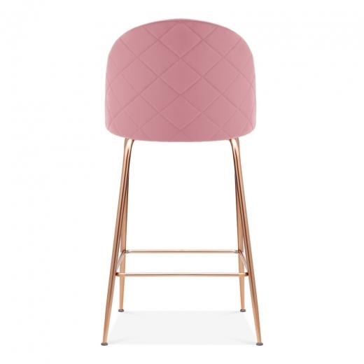 Blossom Millennial Pink Luxe Diamond Velvet Bar Stool Chair Copper Metal Leg - Pebble & Leaf HomeFurniture