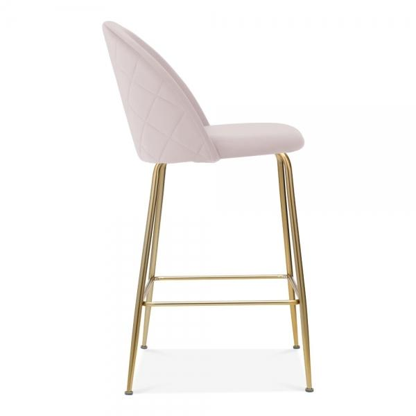 Pale Powder Blush Pink / Gold Brass / 65cm Bar Stool Pale Powder Blush Pink Luxe Diamond Velvet Dining Chair Gold Brass Metal Leg - Pebble & Leaf HomeFurniture