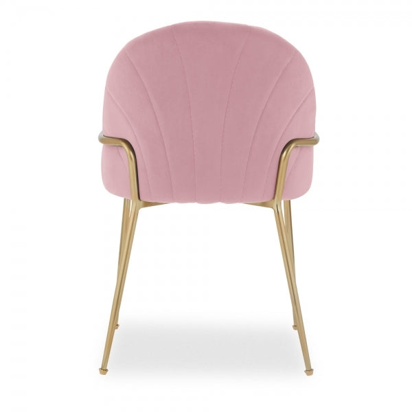 Blossom Millennial Pink Memphis Belle Luxury Velvet Dining Desk Chair Gold Brass Metal Leg with Armrest