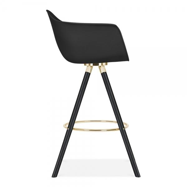 Mode Armchair Bar Stool Grey With Gold - Black Metal - Copper - Chrome Eiffel Style Leg