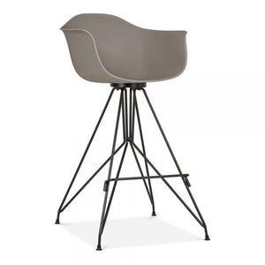 Black Mode Armchair Bar Stool Grey With Copper Eiffel Style Leg - Pebble & Leaf HomeFurniture