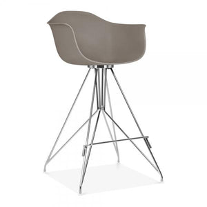 Chrome Mode Armchair Bar Stool Grey With Copper Eiffel Style Leg - Pebble & Leaf HomeFurniture