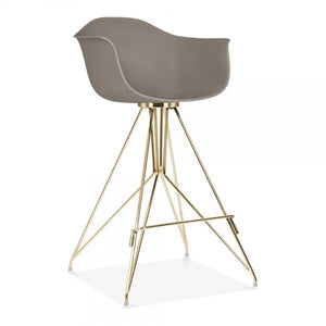 Gold Mode Armchair Bar Stool Grey With Copper Eiffel Style Leg - Pebble & Leaf HomeFurniture