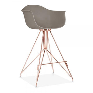 Copper Mode Armchair Bar Stool Grey With Copper Eiffel Style Leg - Pebble & Leaf HomeFurniture