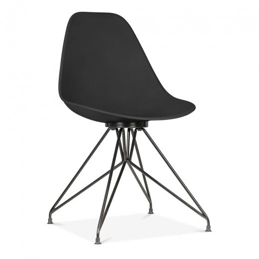 Black Metal / Chair Mode Alfie Dining Desk Chair Black 43cm Black Metal Eiffel Leg - Pebble & Leaf HomeFurniture