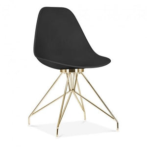 Gold / Chair Mode Alfie Dining Desk Chair Black 43cm Black Metal Eiffel Leg - Pebble & Leaf HomeFurniture
