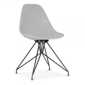 Light Grey Mode Alfie Dining Desk Chair Copper / Chrome / Gold Black Metal Eiffel Leg