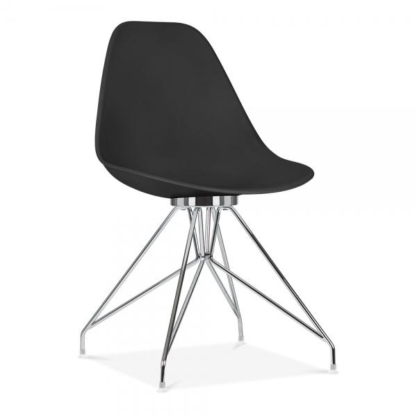 Chrome / Chair Mode Alfie Dining Desk Chair Black 43cm Black Metal Eiffel Leg - Pebble & Leaf HomeFurniture