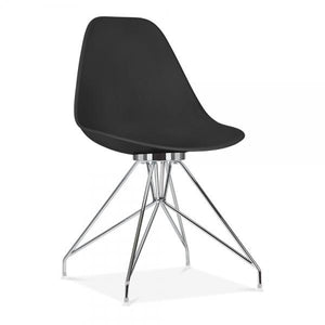 Chrome / Chair Mode Alfie Dining Desk Chair Black 43cm Copper Eiffel Leg - Pebble & Leaf HomeFurniture