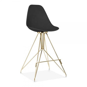 Gold / Bar Stool Mode Alfie Dining Desk Chair Black 43cm Copper Eiffel Leg - Pebble & Leaf HomeFurniture