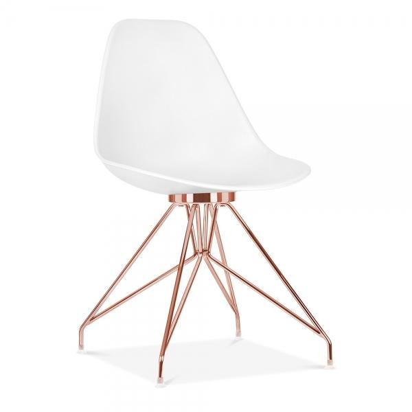 Copper / Chair Mode Alfie Dining Desk Chair White 43cm Chrome Eiffel Leg - Pebble & Leaf HomeFurniture