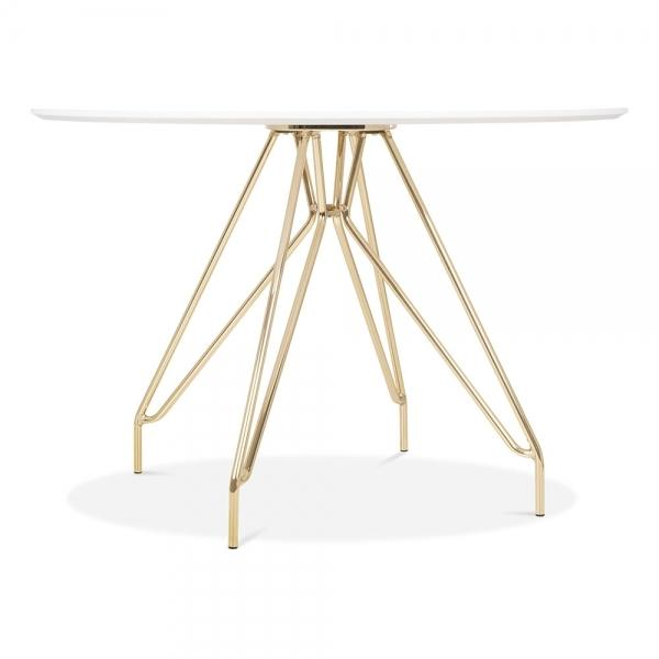 Gold Mode Icon C1 White Copper . Gold . Chrome . Black Metal Leg . Dark Wood . Oak Dining Table 110cm - Pebble & Leaf HomeFurniture
