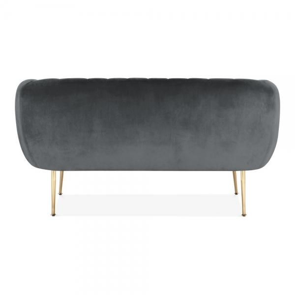 Grey Luxe Curve Modern Art Deco Style Velvet 2 Seater Sofa + Free Offer! - Pebble & Leaf HomeFurniture