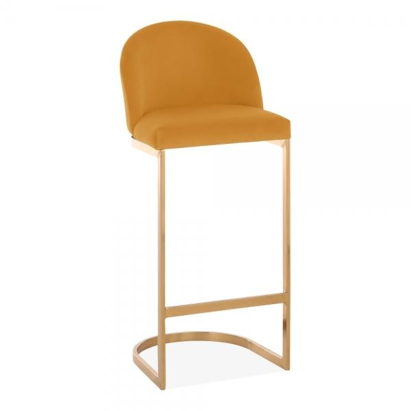 Mustard Gold / Brass / 75 cm Luxe Curve Cantilever Velvet High Back Copper - Brass - Black Leg Bar Stool 75 cm - Pebble & Leaf HomeFurniture