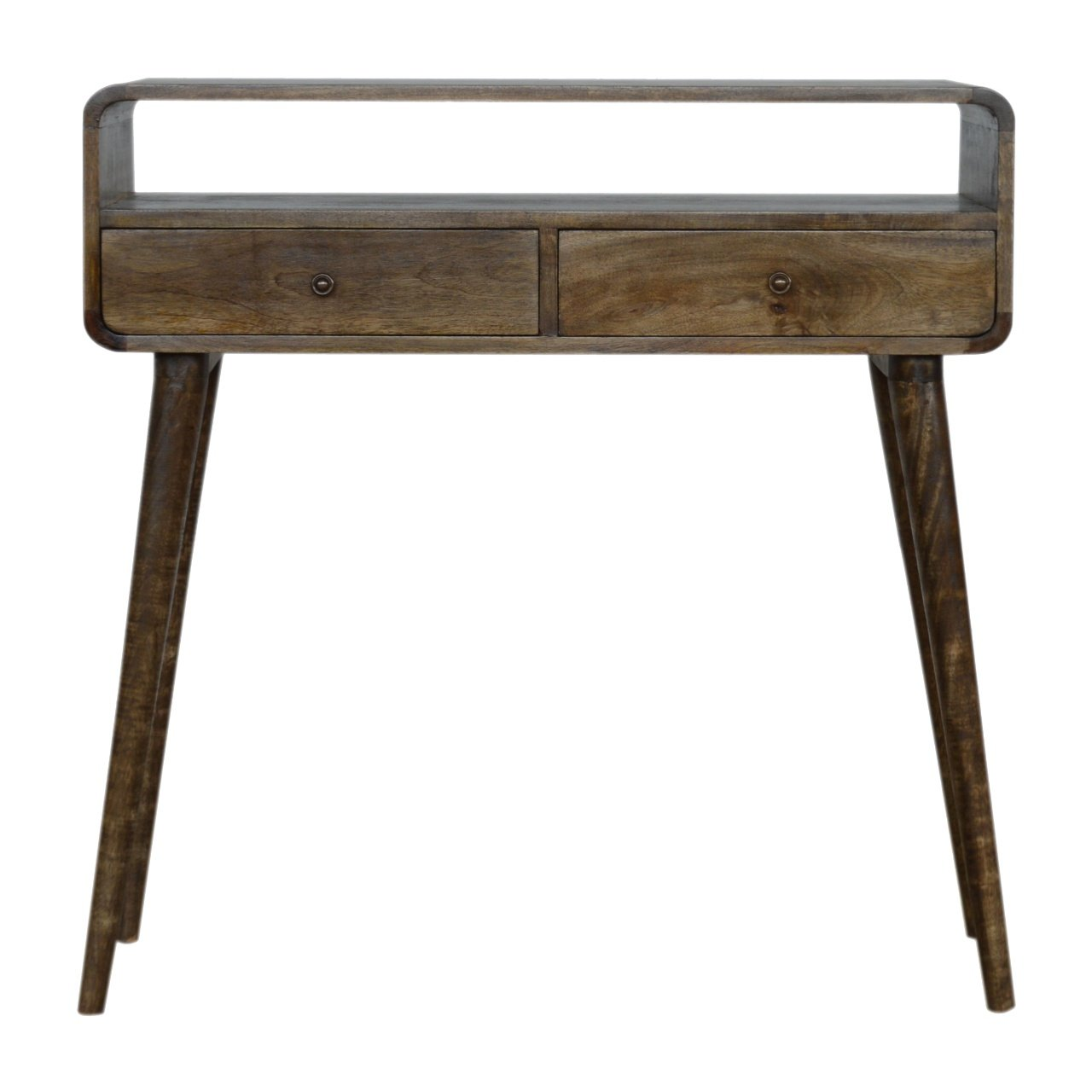 Nordic Curve Console Hall Table Solid Eco Friendly Mango Wood Dark Light Oak or Grey