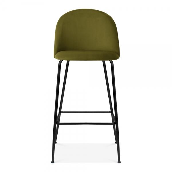 Olive Green Luxe Diamond Velvet Bar Stool 75cm Gold Brass - Copper - Black Metal Leg - Pebble & Leaf HomeFurniture