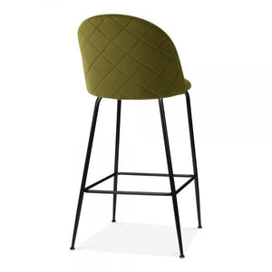 Olive Green Luxe Diamond Velvet Bar Stool 65cm Gold Brass - Copper - Black Leg - Pebble & Leaf HomeFurniture