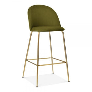 Olive Green / Brass / 75 cm Olive Green Luxe Diamond Velvet Bar Stool 75cm Gold Brass - Copper - Black Metal Leg - Pebble & Leaf HomeFurniture