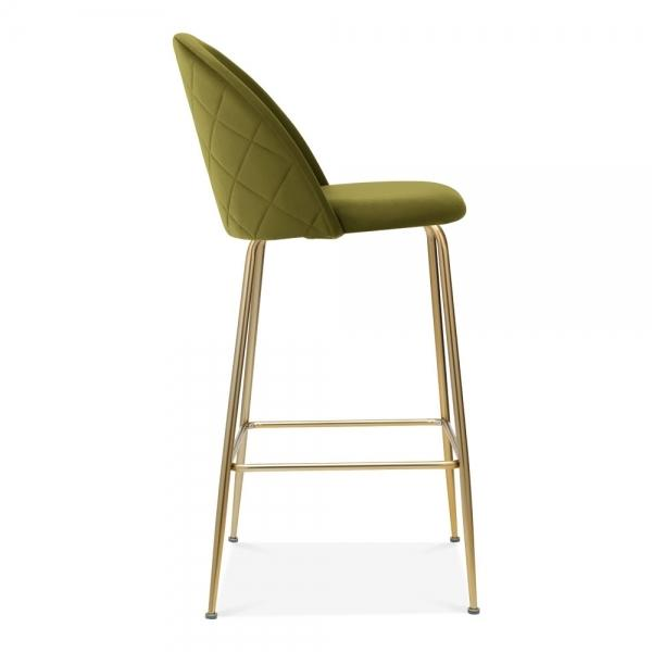 Olive Green / Brass / 65 cm Olive Green Luxe Diamond Velvet Bar Stool 65cm Gold Brass - Copper - Black Leg - Pebble & Leaf HomeFurniture