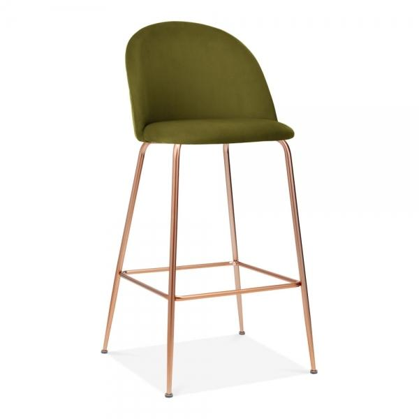 Olive Green / Copper / 75 cm Olive Green Luxe Diamond Velvet Bar Stool 75cm Gold Brass - Copper - Black Metal Leg - Pebble & Leaf HomeFurniture