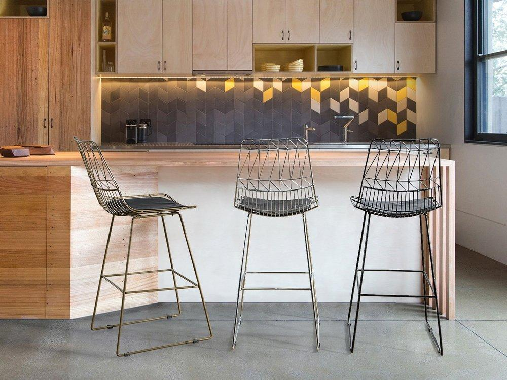 Gold . Black . Silver Orion Geometric Metal Counter Height 75 cm Bar Stool Chair High Back - Pebble & Leaf Homefurniture