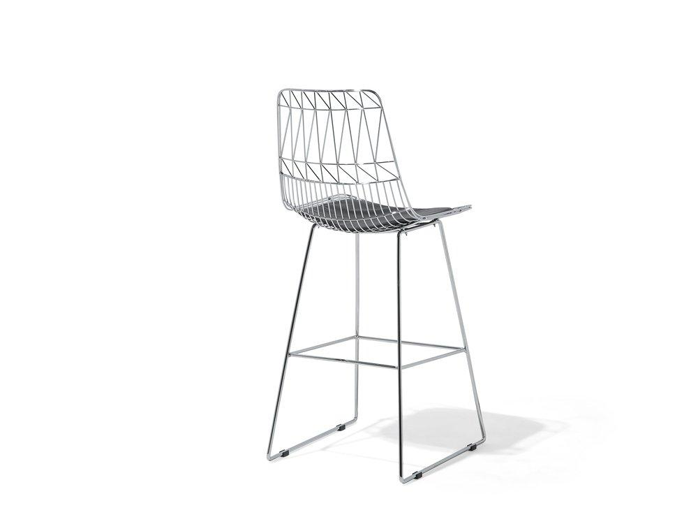Silver Chrome Bar Chair Gold . Black . Silver Orion Geometric Metal Counter Height 75 cm Bar Stool Chair High Back - Pebble & Leaf Homefurniture