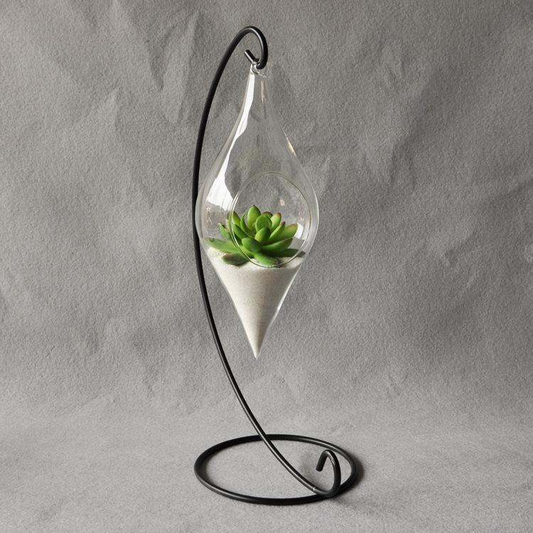 Hanging Glass Teardrop Vase Terrarium Candle Holder - Pebble & Leaf HomeFlowers and Plants