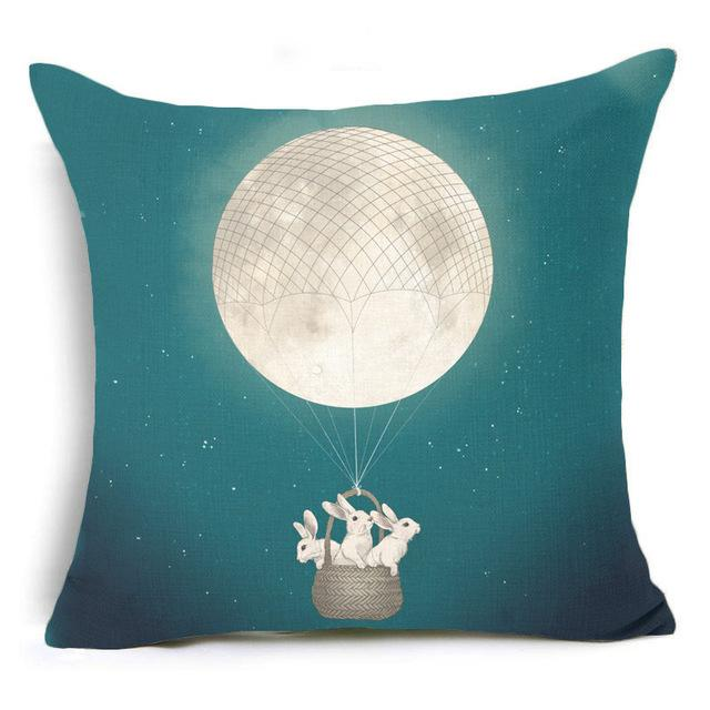 450mm*450mm / Rabbit Moon Teal Eclectic Mix of Art Cushion Covers - Pebble & Leaf HomeCushions / Blankets