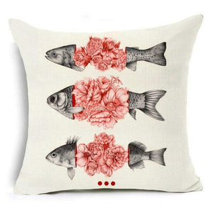 450mm*450mm / Floral Fish Eclectic Mix of Art Cushion Covers - Pebble & Leaf HomeCushions / Blankets