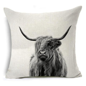 450mm*450mm / Highland Cattle Eclectic Mix of Art Cushion Covers - Pebble & Leaf HomeCushions / Blankets