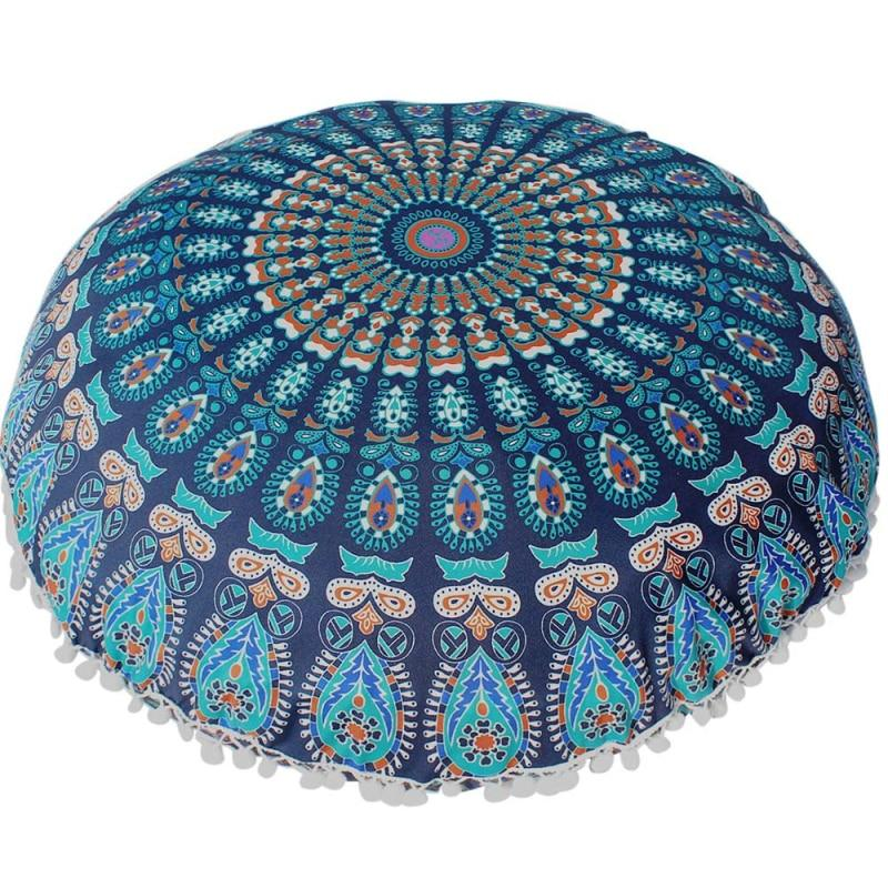 Bohemian Mandala Round Pouffe Cushion Cover - Pebble & Leaf HomeCushions / Blankets