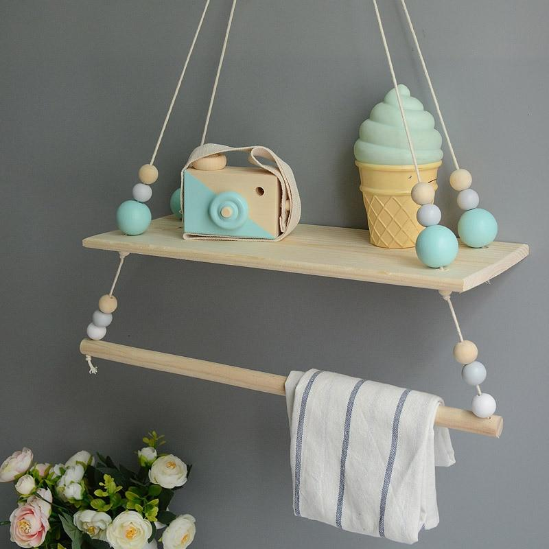 big green bead Hanging Wooden Swing Shelf with Clothes Rail + FREE POM POM OFFER!!!! - Pebble & Leaf HomeStorage