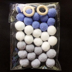 Blue Grey White / DIY KIT Free Pom Pom Garland Offer - Pebble & Leaf HomeWall Art