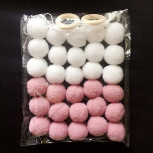 Pink White / DIY KIT Free Pom Pom Garland Offer - Pebble & Leaf HomeWall Art