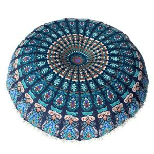 Blue Peacock Bohemian Mandala Round Pouffe Cushion Cover - Pebble & Leaf HomeCushions / Blankets