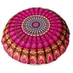 Pink Peacock Bohemian Mandala Round Pouffe Cushion Cover - Pebble & Leaf HomeCushions / Blankets
