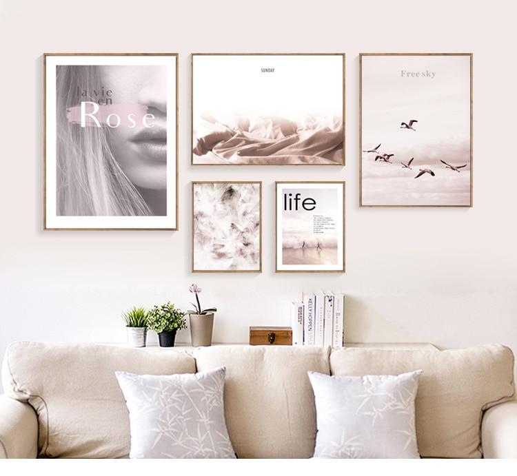 Rose Life Blush Pink Canvas Art Collection - Pebble & Leaf Ltd