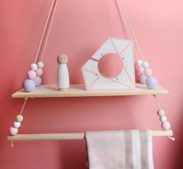 big purple bead Hanging Wooden Swing Shelf with Clothes Rail + FREE POM POM OFFER!!!! - Pebble & Leaf HomeStorage