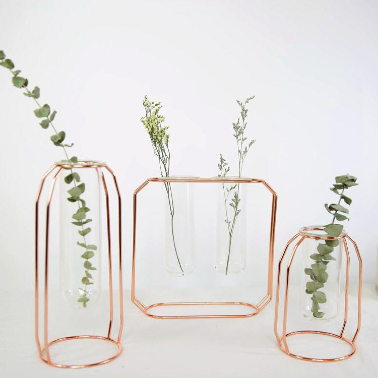 Geometric Wire Copper Rose Gold Glass Tube Vase - Pebble & Leaf HomeVase