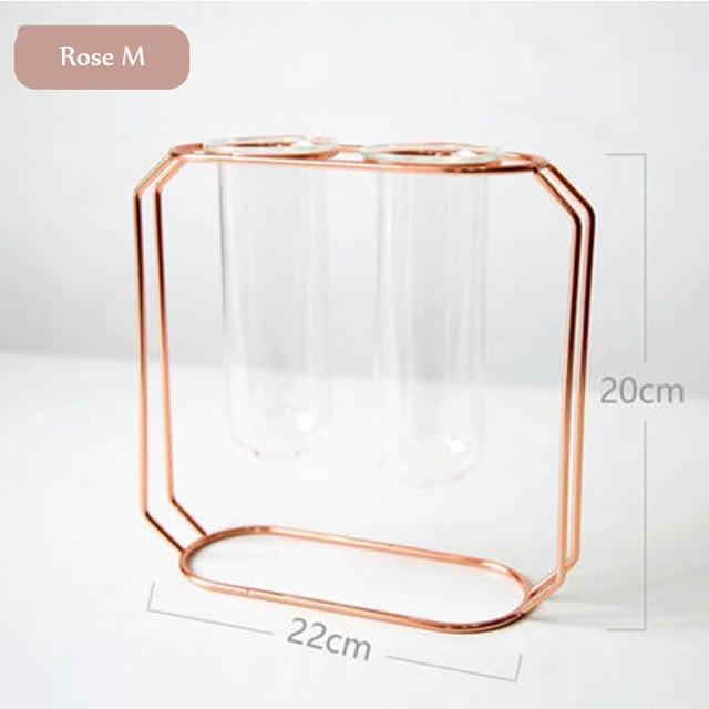 Rose Gold Double Geometric Wire Copper Rose Gold Glass Tube Vase - Pebble & Leaf HomeVase