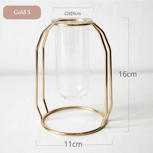 Gold Small Dome Geometric Wire Copper Rose Gold Glass Tube Vase - Pebble & Leaf HomeVase