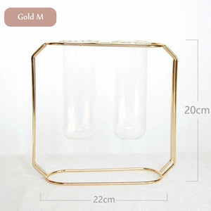 Gold Double Geometric Wire Copper Rose Gold Glass Tube Vase - Pebble & Leaf HomeVase