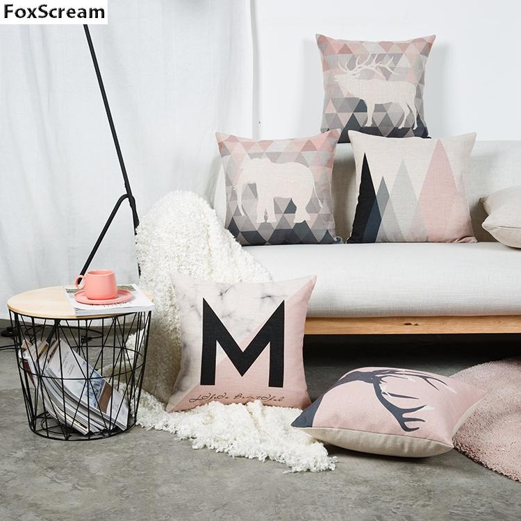 Pink and Grey Cushion Covers - Pebble & Leaf Ltd