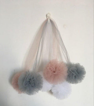 Nordic Grey Large Tulle Pom Pom Garland FREE OFFER!!!! - Pebble & Leaf HomeWall Art