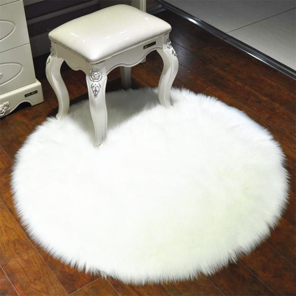 Fine Luxury Round Faux Sheepskin Chair Cover Or Rug Pabps2019 Chair Design Images Pabps2019Com